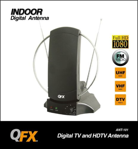 BRAND NEW QFX ANT-101 HD//DTV//VHF//UHF//FM Radio 90-Degree Rotating Antenna