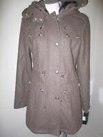 Laundry Faux Fur Wool Anorak Coat Brown Mix