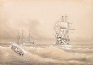 Andre Maglione (1838 - 1923) - Stürmische See - Bleistiftzeichnung - Signiert