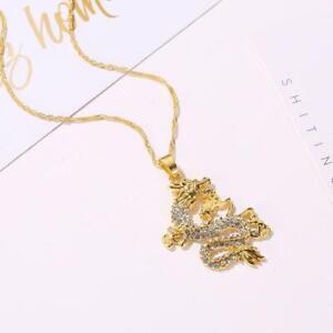 Gold-Crystal-Plated-Crystal-Flying-Dragon-Anhaenger-Kette-Halskette-Schmuck