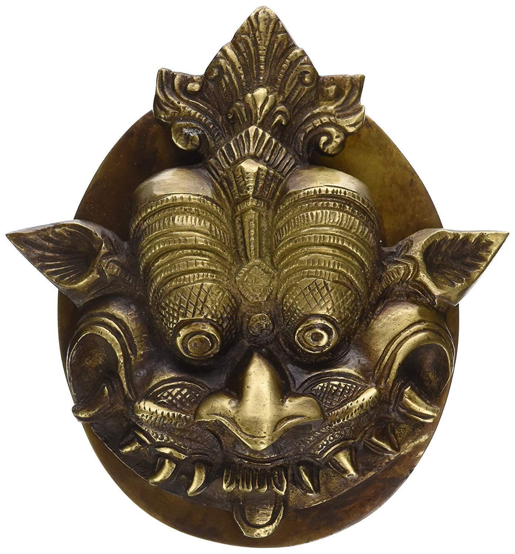 Máscara De Dragón Aldaba Mango estatua de latón sólido de decoración del hogar NUEVO
