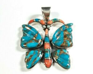 925-STERLING-BUTTERFLY-SPINY-OYSTER-MOP-TURQUOISE-1-5-8-034-x-1-1-4-034-PENDANT