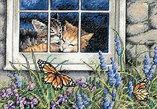 Cross Stitch Kit ~ Gold Collection Feline Love Kittens Window Cats #65051