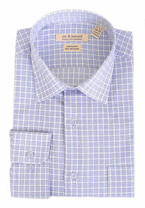 Mens-Regular-Fit-Blue-amp-White-Plaid-Spread-Collar-Cotton-Blend-Dress-Shirt