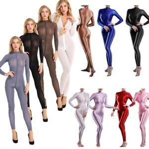 Sexy Womens Long Sleeves Shimmery Zipper Playsuit Jumpsuit Bodysuit Catsuit Club