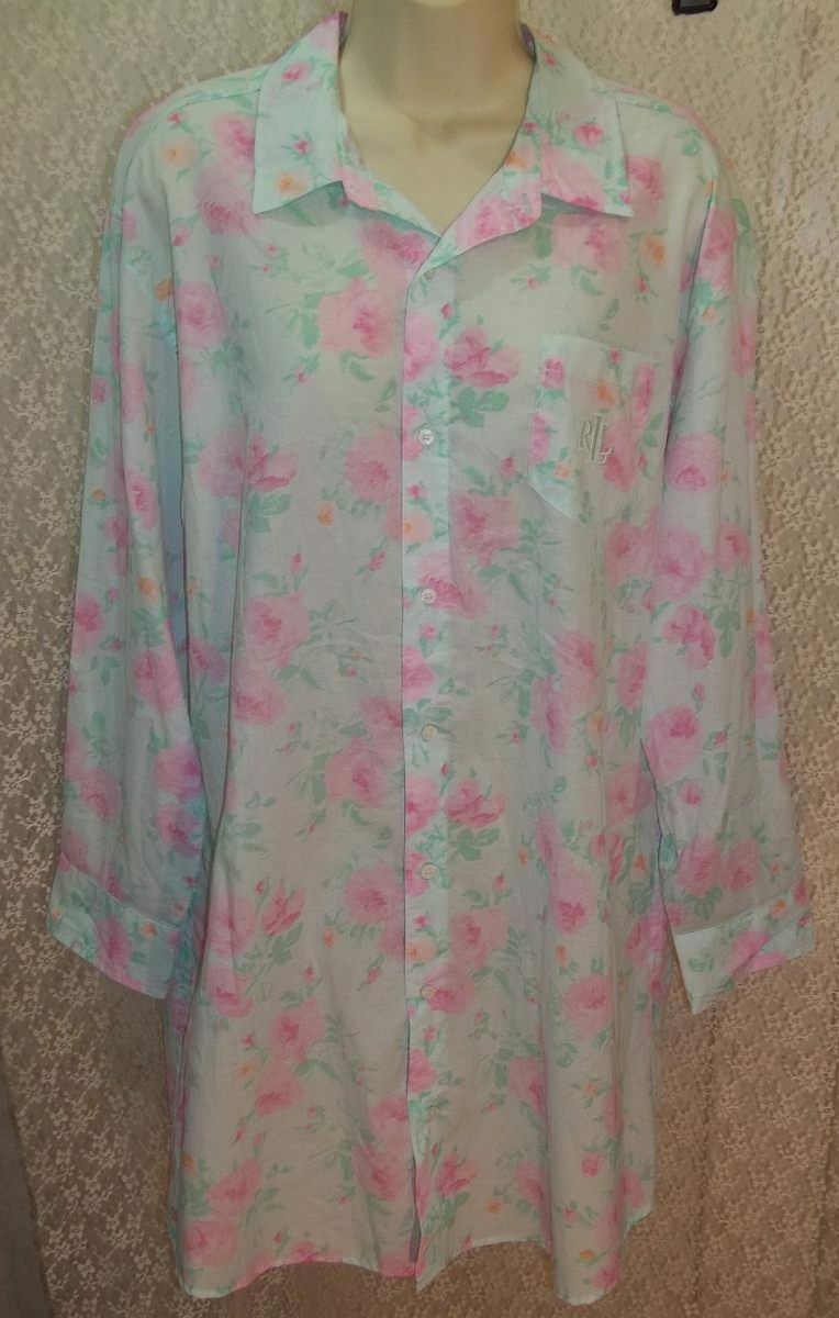 Large L RALPH LAUREN Woven Cotton Night Sleep Shirt Long Roll-Tab Sleeves Floral