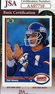 Phil-Simms-1991-Upper-Deck-Jsa-Coa-Hand-Signed-Authentic-Autograph