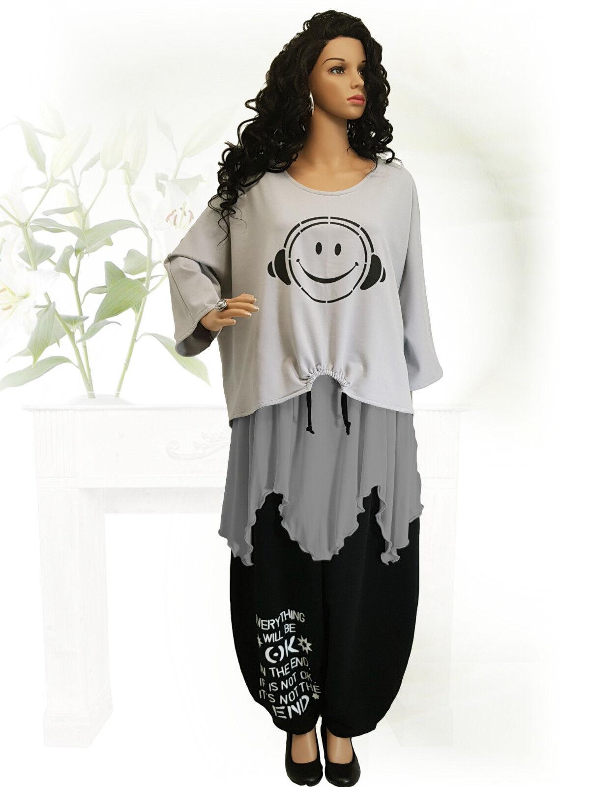 PoCo LAGENLOOK Smiley Kurz-Shirt Überwurf 44 46 48 50 52 54 56 58 L-XL-XXL-XXXL