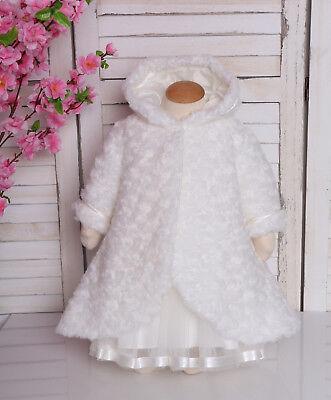 Taufmantel warm Babymantel Winter Taufe Taufhochzeit zum Taufkleid weiß Fleece