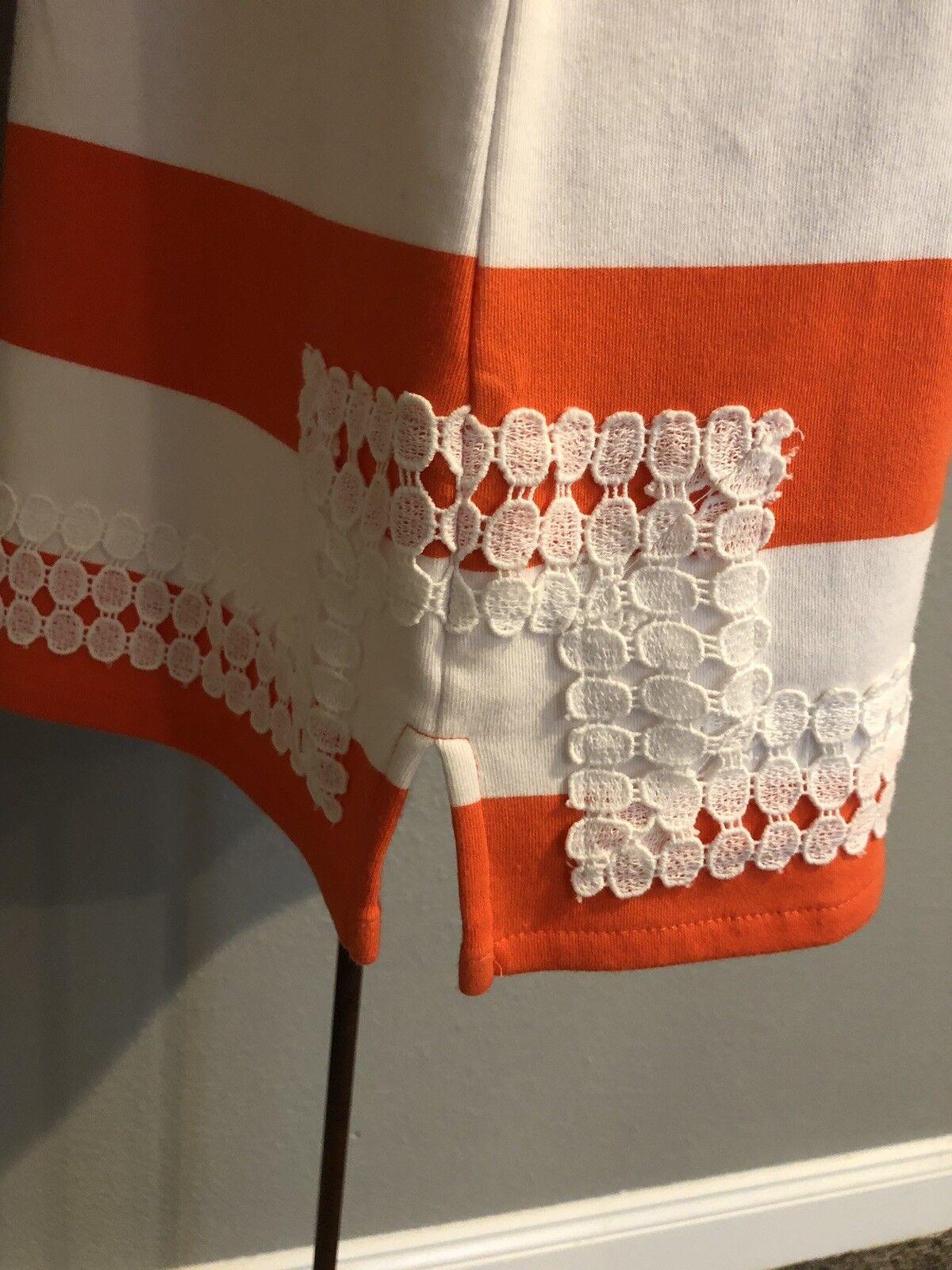 Crown & Ivy Womens Striped Striped Striped Dress orange White Size Small.  G44 9f3486