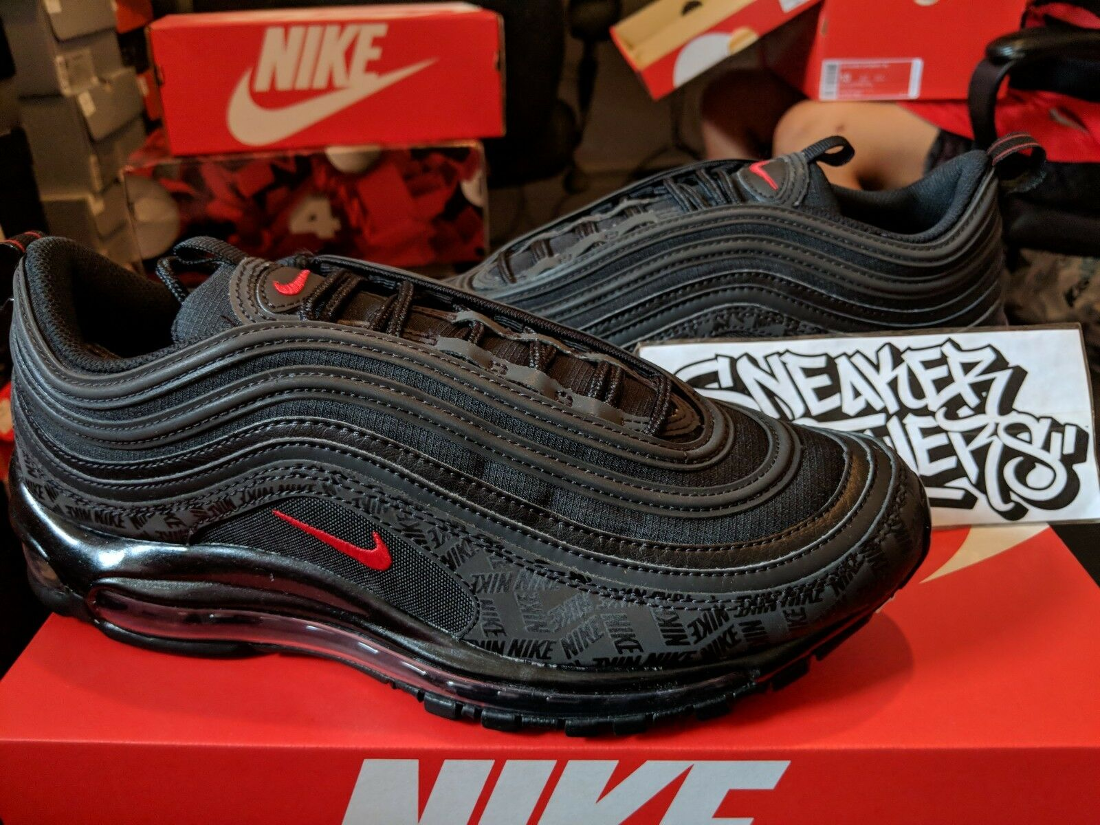 Nike Air Max 97 Black University Red Bred Reflective Logo Japan AR4259-001 Special limited time