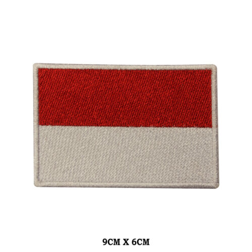 MONACO National Flag Embroidered Patch Iron on Sew On Badge For Clothes etc