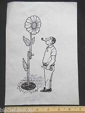 ORIGINALE IVAN Wilding giardiniere con semi di GIRASOLE Cartoon (FUMETTO cartolina artista)