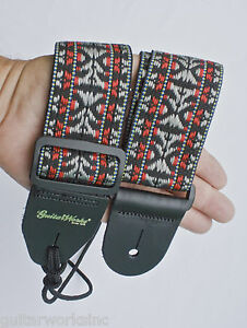 Guitar Strap BLACK RED SILVER WOVEN Fits All Guitars Made In U.S.A. Since 1978