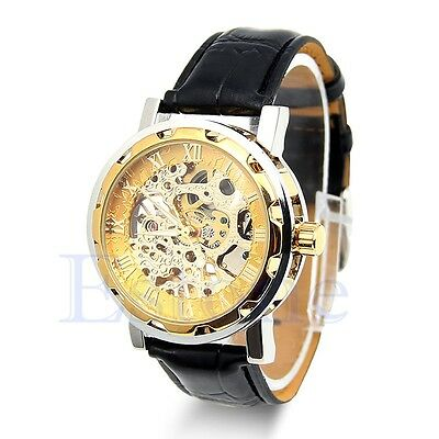 Mens Leather Classic Gold Dial Skeleton Mechanical Sport Army Wrist Watch Black