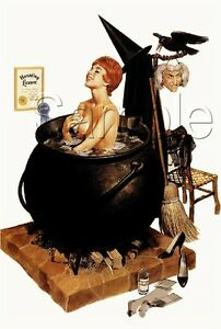 Image Is Loading VINTAGE WITCH PIN UP GIRL BUBBLE BATH CAULDRON
