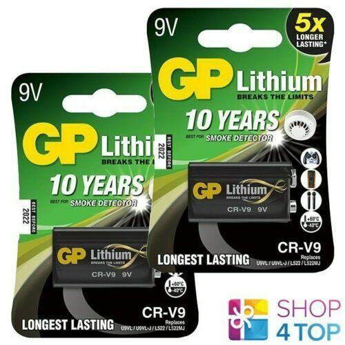 2 GP Lithium CR-V9 Battery Longest Lasting U9VL/U9VL-J/L522/L522MJ 800mAh New
