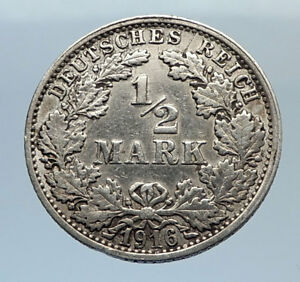1916-WILHELM-II-of-GERMANY-1-2-Mark-Antique-German-Silver-Coin-Eagle-i71651
