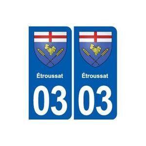 03 étroussat Blason Ville Autocollant Plaque Stickers - Angles : Arrondis Remise GéNéRale Sur La Vente 50-70%