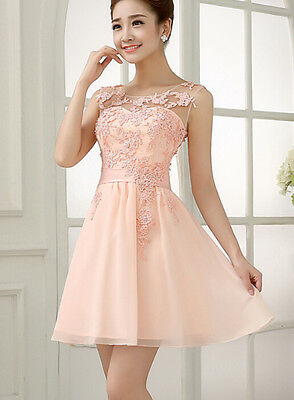 Short Cocktail Party Dresses Evening Formal Bridesmaid Wedding Prom Lace Dress