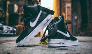 super popular 75e42 64d24 Image is loading Nike-Air-Force-1-High-Top-Black-White-