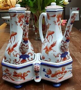 Beautiful-Antique-Dutch-Delft-Imari-style-Porcelain-Jugs-jars-big-cruet-Set