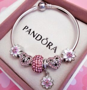 Image Is Loading Authentic Pandora Silver Bangle Charm Bracelet With Pink
