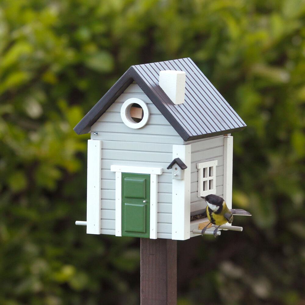WILDLIFE GARDEN MULTIHOLK Graues Haus  2in1 Nistkasten Vogelfutterhaus | Haltbarer Service  | Neu  | Ausgezeichnetes Handwerk
