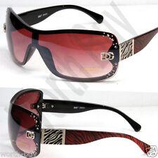 New DG Designer Womens Rhinestones Sunglasses Shades Fashion Burgundy Red Zebra