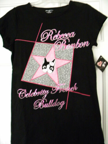 Rebecca BonBon Black Pink French Bulldog T-shirt Medium Girls Junior