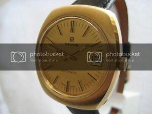 NOS-NEW-SWISS-VINTAGE-GOLD-PL-WATER-RESIST-AUTOMATIC-DATE-REVUE-MEN-039-S-WATCH-1960