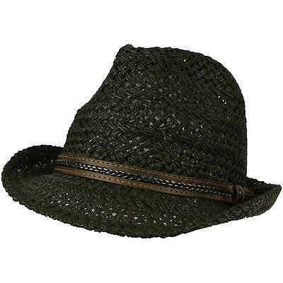 Men's Light Cool Vented Crusher Summer Spring Fedora Trilby Hat Black 56cm S/M