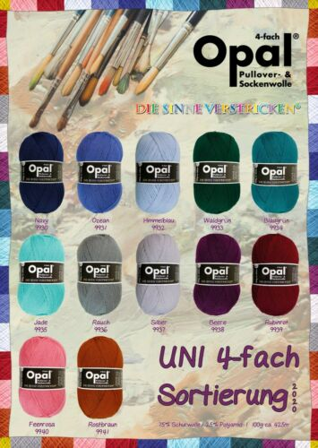 4ply sock yarn in solid colors LIMITED Opal Uni collection SET OF 12 COLORS*