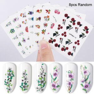 LEMOOC-Flowers-Nail-Water-Decals-Nail-Art-Transfer-Stickers-Adhesive-Papers