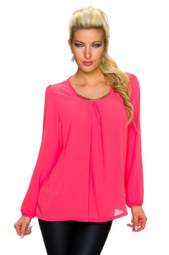 Krepp Tunika Bluse Shirt Metall Element S M 36 38 40 Crepe Damen Büro elegant