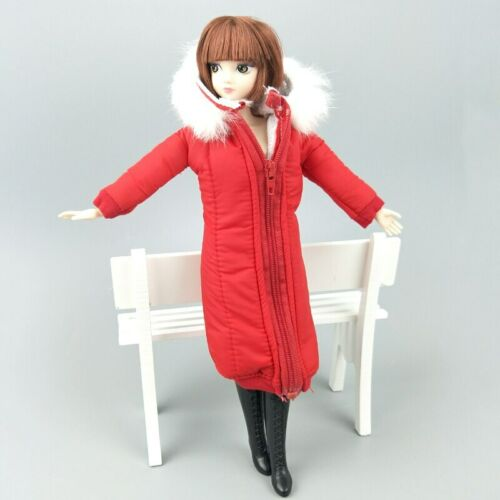 "Red Winter Wear Long Coat for 11.5/"" Doll Dress Clothes Parka For 1//6 BJD Doll"