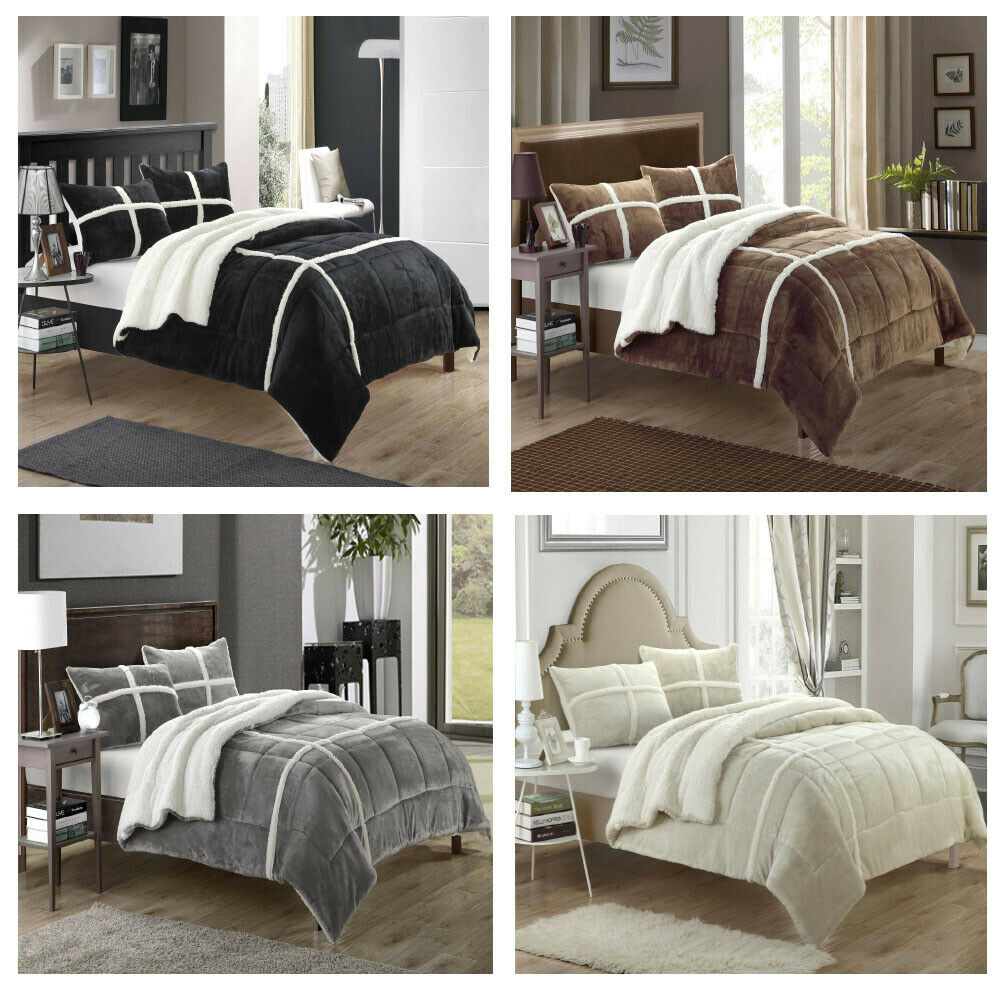 Chloe Plush Microsuede Sherpa Lined 7 Piece Comforter Bed In A Bag