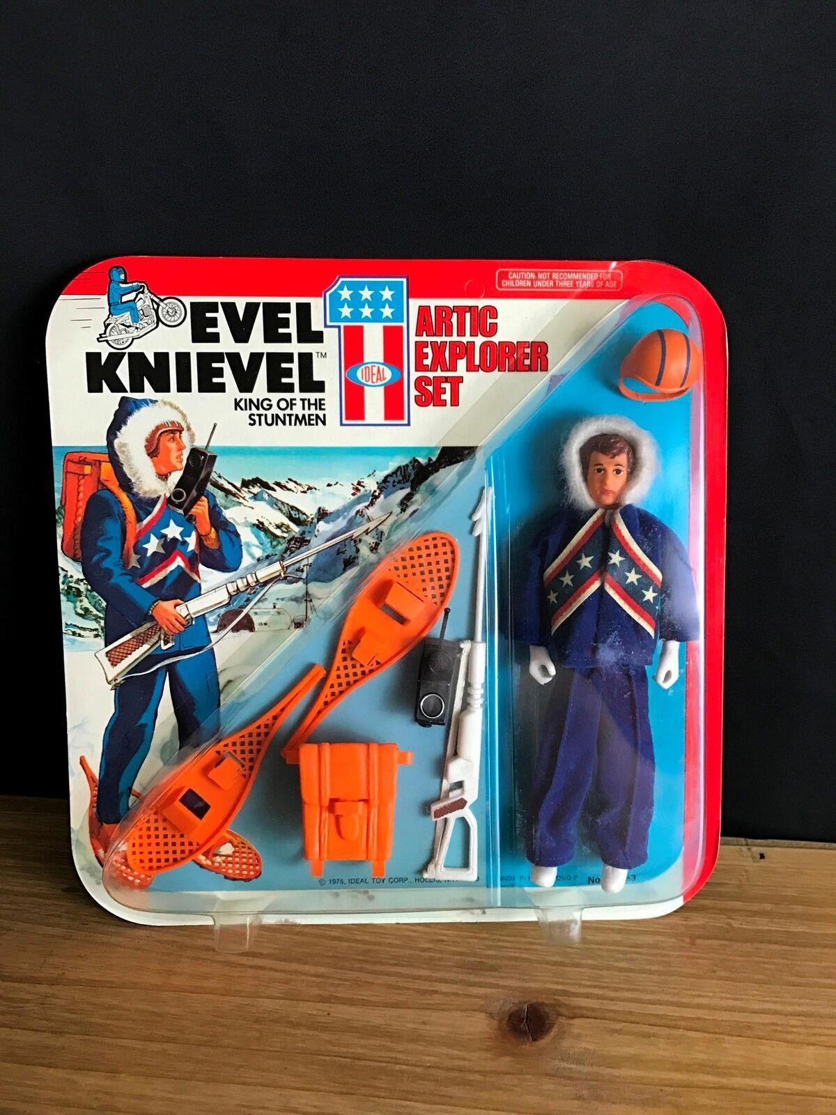 Rara Vintage 1975 Evel Knievel stuntmen Ártico Explorer conjunto ideal NIB ENLOMADOR