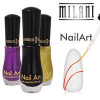 Lot Of 4 Milani Nail Art Polish Perfect Colors Black, Purple, Yellow, Silver