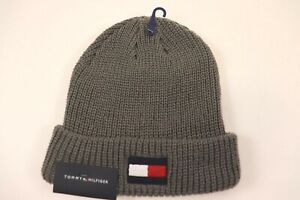 NWT TOMMY HILFIGER OS Men's Grey Chain Link Knit Embroidered Winter Hat