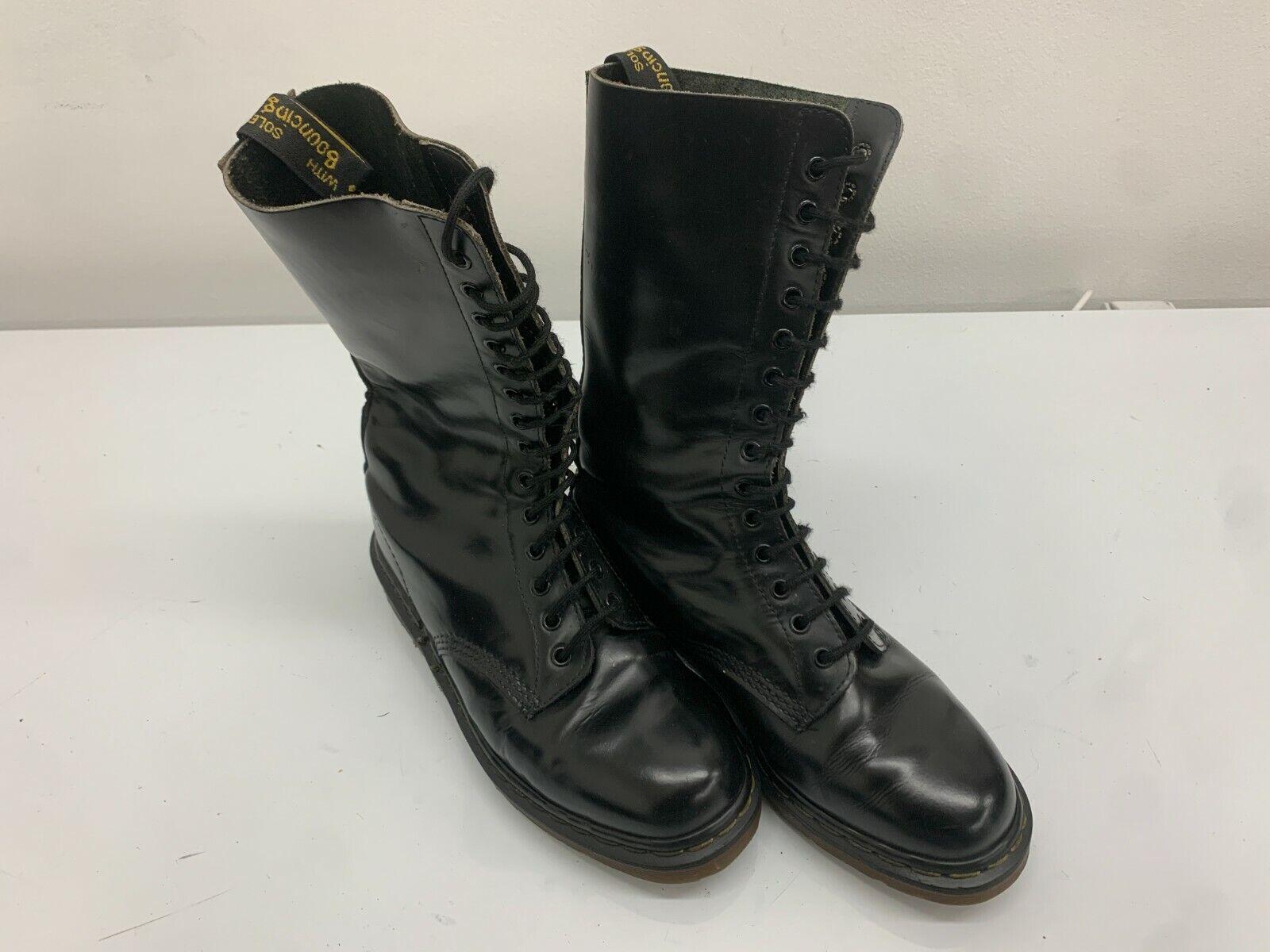 Dr Martens Boots 14 Eyelets Black Leather, Size 7UK,Made In England Doc Martens
