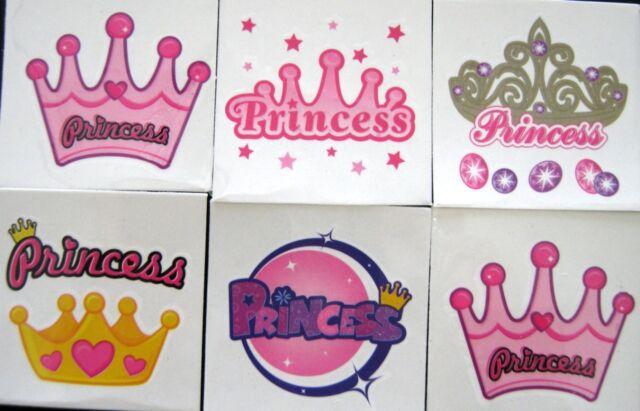 Bulk Lot of 24 Mini Temp Tattoos Princess Theme Pink Colours NEW Free Post