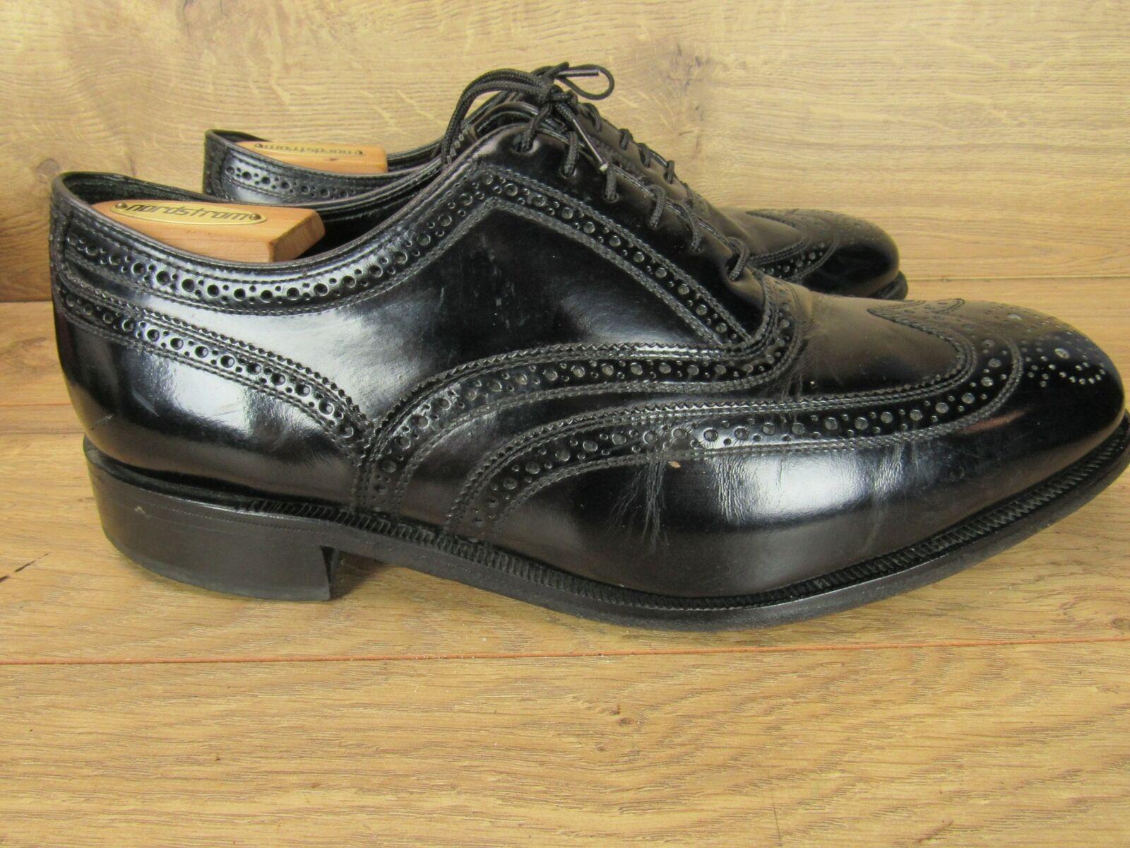 Florsheim Noir Bout d'aile en cuir à lacets derbies homme chaussures 11 EEE