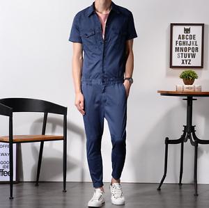 Mens One-Piece Cotton Jumpsuits Short Sleeve Cargo Work Pants Summer Buttons hot