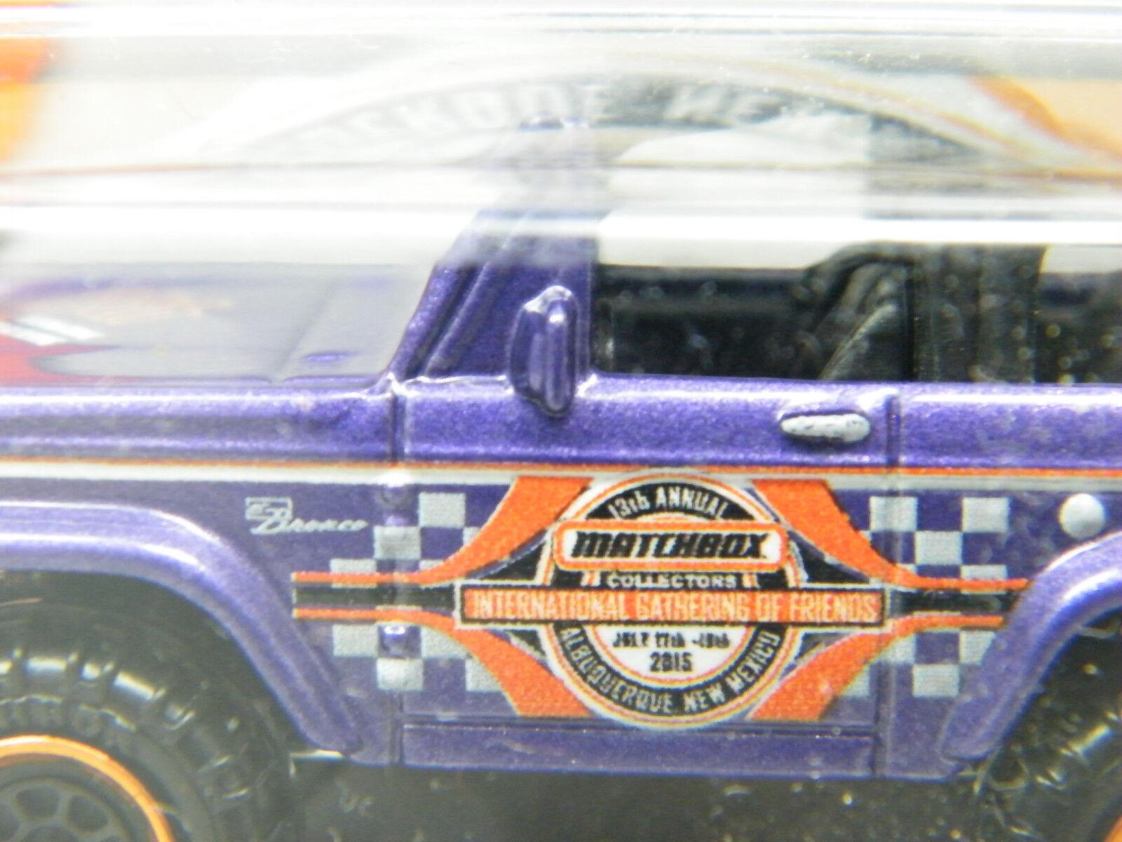 MoYShop Matchbox 2015 Ford Bronco Albuquerque 13th 13th 13th Gathering purple OVP USA RAR  b46f1c