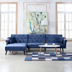 Velvet Sleeper Futon Sofa Living Room