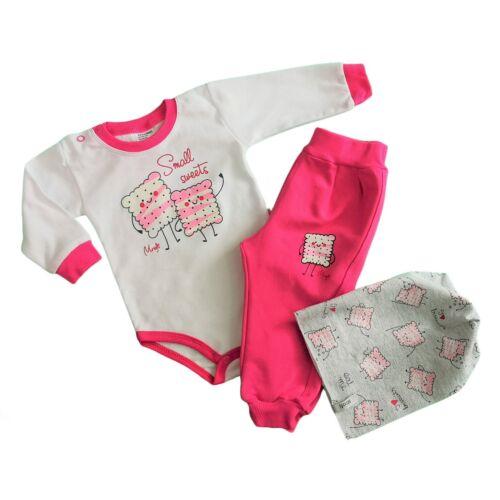 Combinaison Baby Infant Girls 3 Pc Set chapeau Sweat Shirt Blouson Pantalon//Pantalon De Survêtement