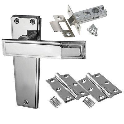 Deco Internal Door Handle Packs - Latch Lock Bathroom Chrome Door Handles