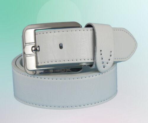 Herren Gürtel Metallgürtelschnalle Weiss weiß 110 115 120 125  cm