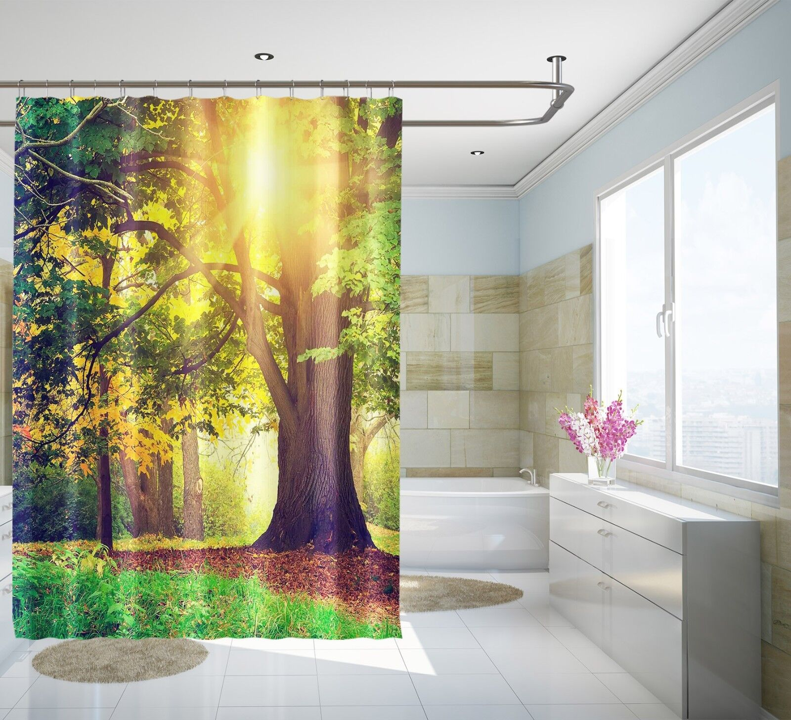 3D Arbre Sunshine 3 Rideau de Douche Imperméable Fibre Salle de Bain Home Windows Toilette